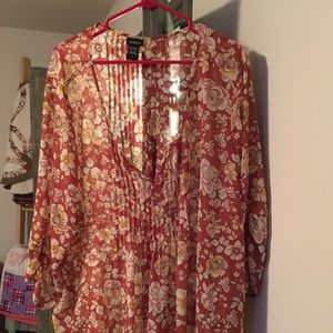 Torrid plus size sheer flower detail ¾ blouse